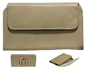 Jo Jo A4 Nillofer Belt Case Mobile Leather Carry Pouch Holder Cover Clip For panasonic toughpad fz-x1 Beige