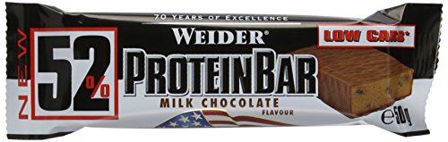 50g Box (Weider 52% Protein Bar (24x 50g Box), Chocolate/Schokolade, 1er Pack, (1 x 1.2kg))
