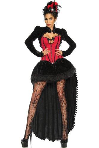 Burlesque-Kostüm Damen schwarz-rot Verkleidung sexy Schwarz/Rot
