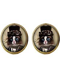 6dfbac09b9 Steampunk, orecchini a forma di gatto bianco e nero, gioielli vintage da  donna