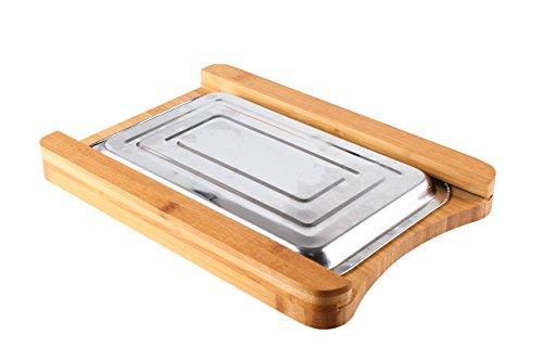 Schneidebrett aus Bambus mit Servierplatte Küchenbretter Schneidebretter aus Bambus mit Metalltablett - 3