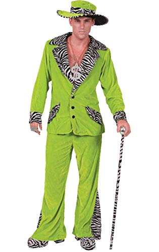 Zuhälter Kostüm in Hellgrün mit Hut Karneval Fasching Verkleidung Herren ()