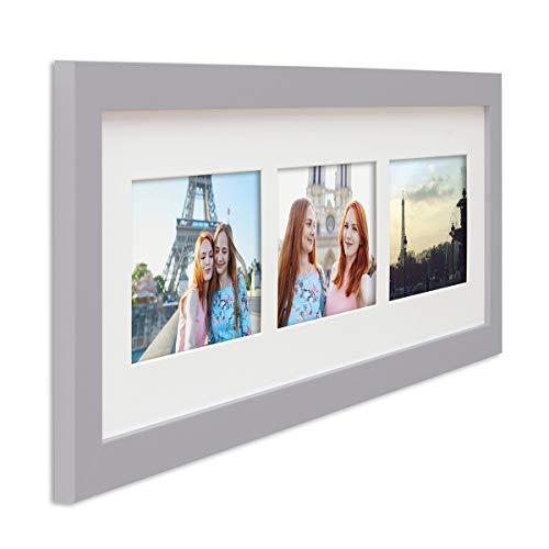 PHOTOLINI Fotocollage-Bilderrahmen Modern Silber aus MDF Collagerahmen Bildergalerie-Rahmen für 3 Bilder 10x15 cm Wechselrahmen mit Passepartout - Horizontale Mehrfach-bilderrahmen