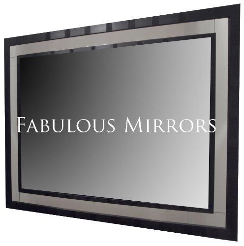 Large 43inch x 31inch (109cm x 79cm) Modern Black Framed Mirror - Stunning Quality - Ready to Hang - ITV Show Supplier