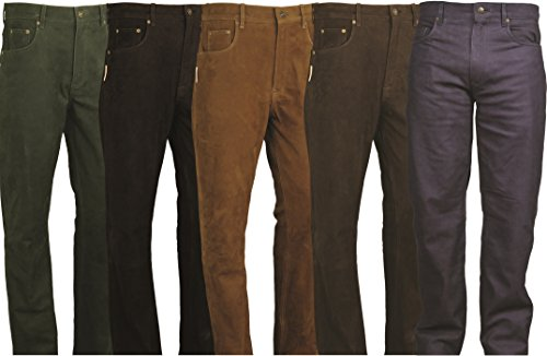 FuenteLederhosen Pantaloni in pelle bootcut Pantaloni da donna in pelle per uomo, pantaloni in pelle per donna Molletta Moto, Moto, Bicicletta, equitazione, Trachten Nero