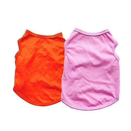 Sicherheitshosen Hosen Hundeweste, 2 Stück/Set Kostüm Weich Sommer Pure Farbe Draußen Katze T-Shirt Welpe Uni Modischer Bekleidung Freizeit Haustier Kleidung - Orange + Pink, s Weich comfort - Gute Uni Kostüm
