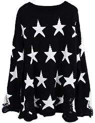 Avitalk - Fashion Jersey Suéter Holgado de Punto con Estrellas Manga Larga para Mujeres