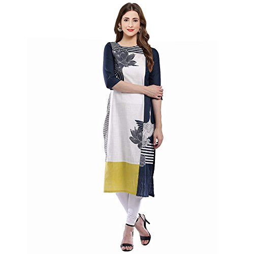Kiteshop Women's Crepe White Kurta (3_Large)