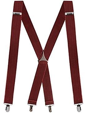 Buyless Fashion Tirantes elásticos y ajustables en forma de X para hombres con clips de metal de 3,8 cms de ancho