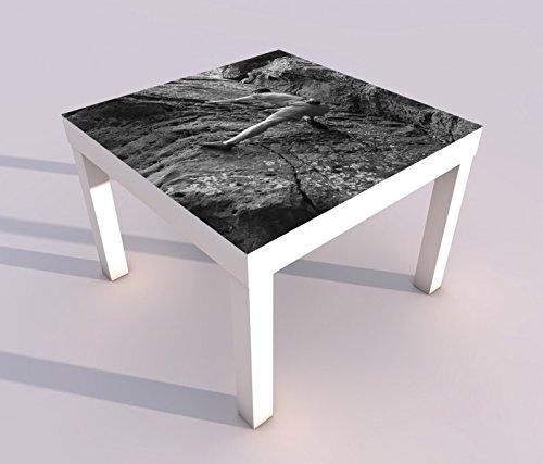 Design - Tisch mit UV Druck 55x55cm schwarz weiß Freeclimbing Felsen Klettern Extrem Spieltisch Lack Tische Bild Bilder Kinderzimmer Möbel 18A1387, Tisch 1:55x55cm