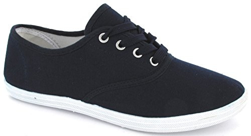LADIES WOMENS PLIMSOLES LACE UP FLAT PUMPS PLIMSOLLS CANVAS GIRLS TRAINERS SIZE 6 UK Navy 39 EU