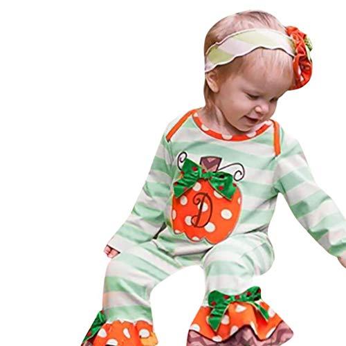 Babykleidung Rosennie Halloween Neugeborenen Baby Mädchen Jungen Kürbis Gestreiften Dot Strampler Overall Kleidung Langarm Kinderkleidung Outfit Kleidung Sets für Halloween Kostüm(Grün)