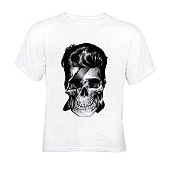 David Bowie Icon Skull Mens White T-Shirt (Medium)
