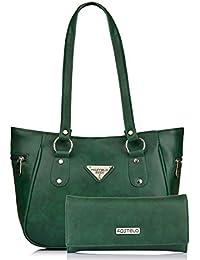 Fostelo Women's Combo Handbag & Clutch (Green & Green) (FSB-1091-FC-28)