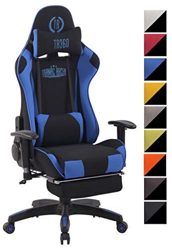 CLP Chefsessel Turbo XFM Stoff mit Massagefunktion l Höhenverstellbarer Bürostuhl mit ausziehbarer Fußablage und beheizbarem Sitzbereich schwarz/blau