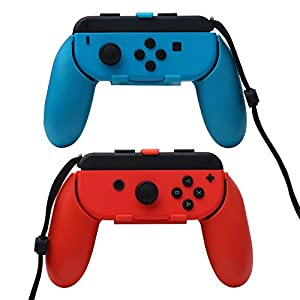 N-Switch Joy-Con Griffe, kompakt, leicht, langlebig, verschleißfest, für Links- und Rechtshänder von Nintendo Switch Joy-Con Game-Griffe, 2 Stück Blau und Rot