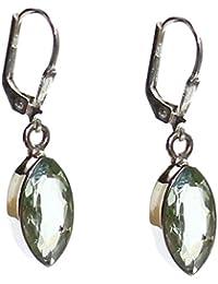 budawi® - Ohrringe Prasiolith (grüner Amethyst) facettiert mit Brisurenverschluss, 925er Sterling Silber