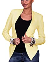 Lucky again-uk Women Long Sleeve Solid Slim Fit Office Short Suit Jackets Yellow XS