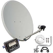Engel AN0432E - Antena parabólica (80 cm, soporte pared, LNB, localizador satélite), color blanco