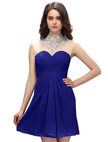Dressystar Robe femme, Robe de bal/soirée courte à col en cœur, avec un collier de strass, en mousseline Bleu Saphir