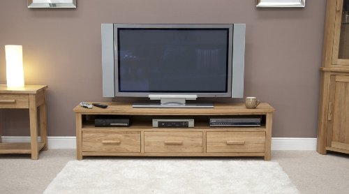 Eton solid oak furniture large widescreen plasma television cabinet stand