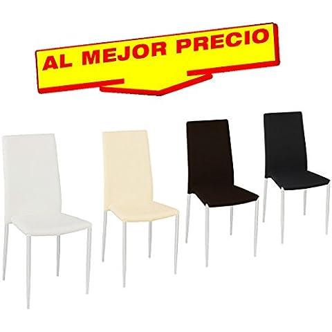 PACK DE 6 SILLAS DE COMEDOR COCINA O SALÓN, TAPIZADAS EN SEMILPIEL,PATAS CÓNICAS CROMADAS - OFERTAS HOGAR Y OFICINA -ÚLTIMAS UNIDADES - DISPONIBLE EN VARIOS COLORES (Chocolate)