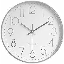 MixArt 12    Horloge Murale Ronde Quartz argentée de qualité silencieuse et  sans tiques Facile 7a2698aa4a55