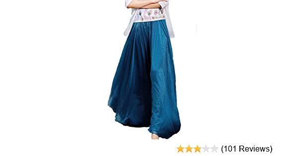 1251edf15d6e Finejo Womens Chiffon Retro Long Maxi Skirt Vintage Dress (Blue) One size:  Amazon.co.uk: Clothing