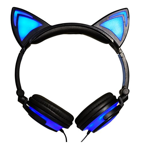 AOUTOS Katze Kopfhörer, Wiederaufladbare niedliche Katze Ohr Kopfhörer mit LED blinkt glühende Lichter faltbar über Ohr Cos-Play Fancy Headsets(Blau)