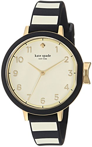 Kate Spade New York Women's 'Park Row' Quartz Stainless Steel and Silicone Casual Watch, Color Black (Model: KSW1313)