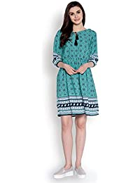 0172737b906d Abiti Bella Women s Green Printed Fit and Flare Border Woven Dress