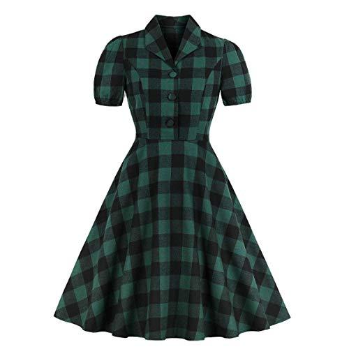 1940er Jahre Damen Kostüm - Damen grün Check Button Down Pocket