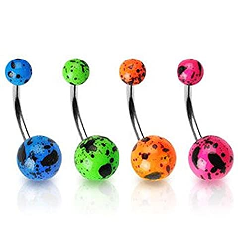 1 x Pink Splat Fluorescent Coloured Balls Surgical Steel Belly Bar Piercing 1.6mm Thickness 10mm Length