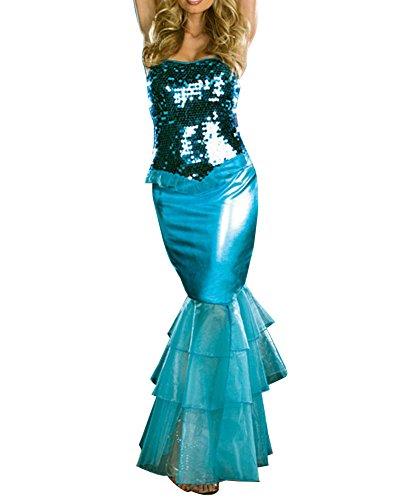 Damen Halloween Cosplay Fasnachtskostüme Metallic Meerjungfrau Kostüm Maxi Kleid Blau S (Halloween Kostüme Herkunft)