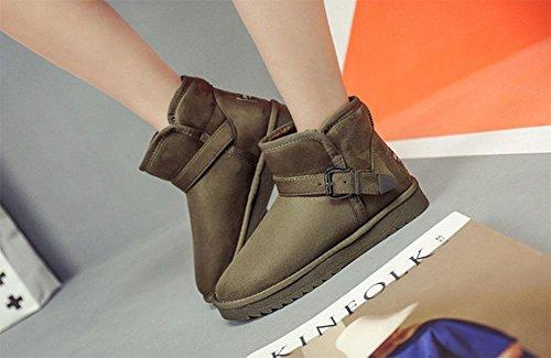KUKI Stivali da neve, tubo corto, stivali, piatto, più velluto, ispessimento, scarpe da studente, scarpe di cotone, versione coreana, casual, moda, selvaggio dark green