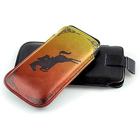 Jockey 10004, Cavallo, Nero Universal Eco Leather Holster Sleeve Slide In Pouch with Colorful Design and Pull Tab Strap Compatible for Nokia Lumia 930 Lumia Icon Lumia 830 Lumia 920