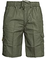 Mens Plain Summer Shorts Pure Cotton Cargo Combat Style