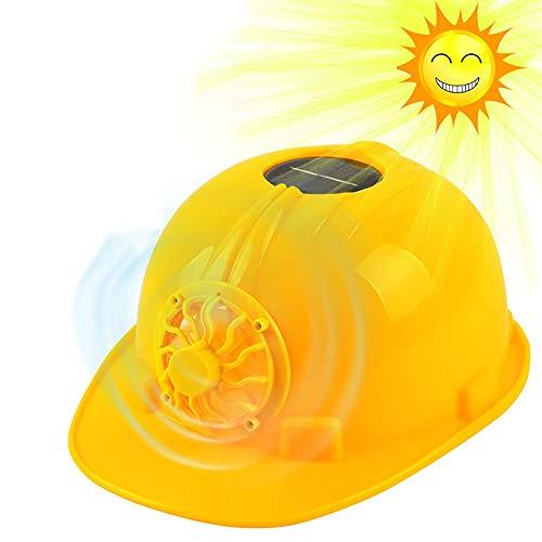 QYHSS Schutzhelm, Bauarbeiterhelm, Schutzhelm mit solarbetriebener Kühlung Kühllüfter Lüfter, Arbeits Kappe Kopf Schutz, atmungsaktiver Sonnenschutzhelm, für Bauarbeiter Sanitärarbeiter