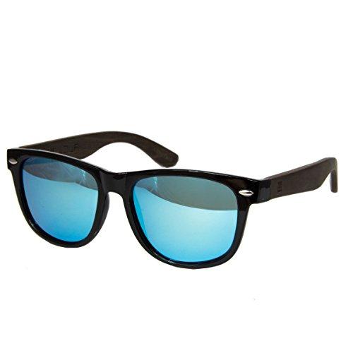 WOLA Sonnenbrille Holz - Bügel ICE eckige Brille starke Brücke polarisierte Holzbrille Damen L...