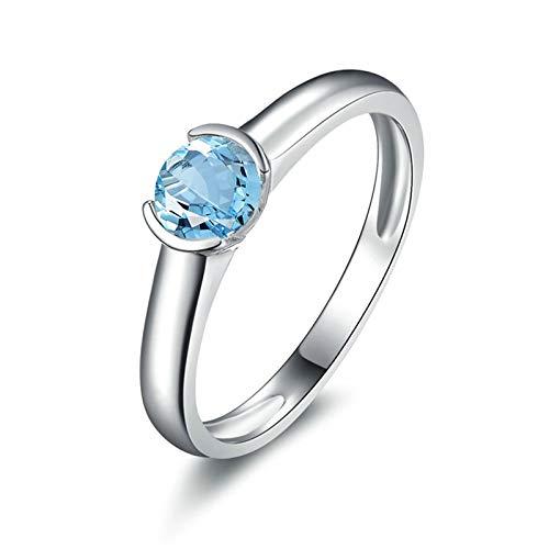 KnBoB 925 Sterling Silber Ringe für Damen mit Zirkonia Damen Ring Verlobung Silber Topas Sterling Silber 925 Ring Größe 49 (15.6)