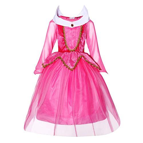 Fernando Guapo 1pz Bambina Vestito da Principessa, Aurora, Manica Lunga Frozen Kids Halloween Birthday Pageant Holiday Christmas Vestiti Costume Outfits, Red, 130