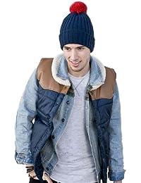 Men Contrast Bobble Winter Thermal Ski Hat,red