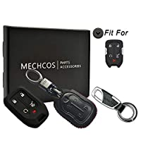 MECHCOS Compatible with fit for 2018 2019 GMC Terrain, 2017 2018 GMC Acadia 5 Buttons Leather Case Key Fob Cover Keyless Remote Start Control Holder Protector HYQ1AA