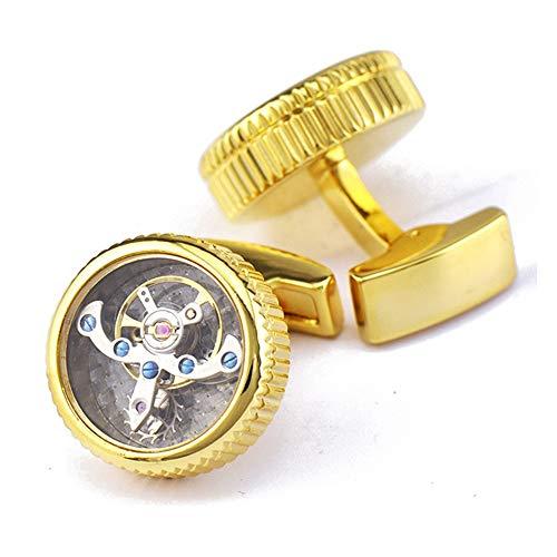 AdorabCufflinks Movimiento Reloj de Oro tourbillon Mancuernas uñas Mangas.