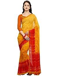 Vaamsi Chiffon with Blouse Piece Saree (Raga3168_Yellow_one Size)