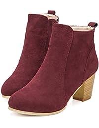 Beladla Zapatos De Mujer Botines Cortos Cabeza Redonda TalóN Grueso TacóN  Alto Femenino Botas Navidad Invierno Moda Ocio TalóN… 265a4b3bb701