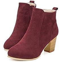 Beladla Zapatos De Mujer Botines Cortos Cabeza Redonda TalóN Grueso TacóN Alto Femenino Botas Navidad Invierno