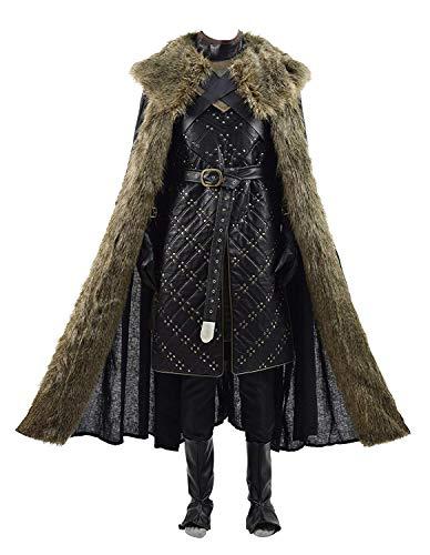 Qian Qian Herren Ritter Snow kostüm Lederrüstung Halloween Cosplay Mantel (XXXL, Braun 2)