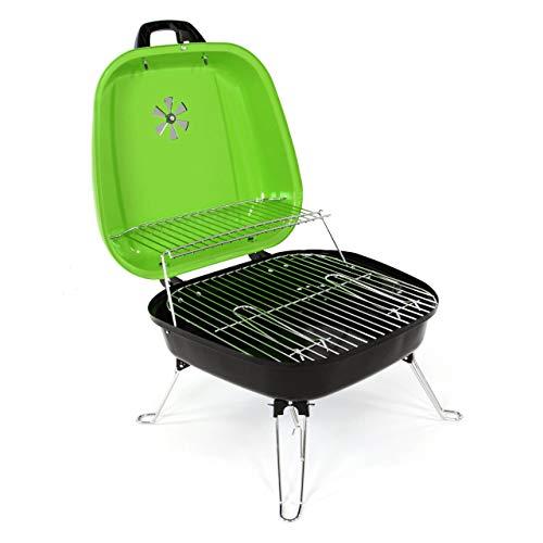 412SZ2Lc88L - Nexos Mini Koffer-Grill Holzkohlegrill für Garten Terrasse Camping Festival Picknick Party BBQ Barbecue ca. 34 x 36 cm Grillfläche grün