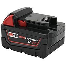 KINSUN Sustitución poder herramienta batería 18V Li-Ion 3.0Ah para Milwaukee Taladro inalambrico atornillador de impacto M18, 2601, 2610, 2611, 2620, 2630, 2650, 49-24-0171, 0880-20
